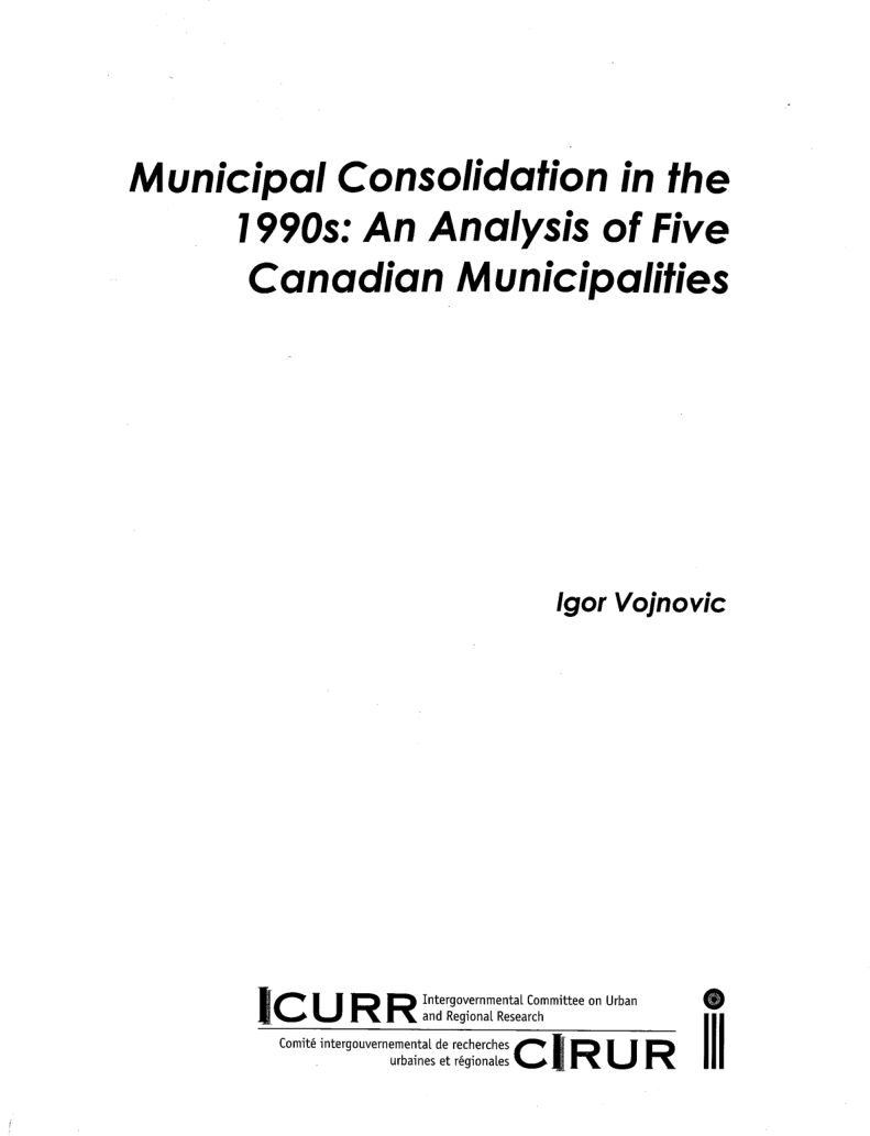 Municipal Consolidation in the 1990's